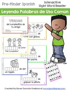 """Spanish Interactive Sight Word Reader """"VIENES del cumpleañ"""