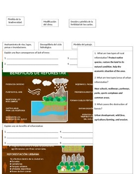 Spanish Interpretive Reading Activities Ecology Environment Nature