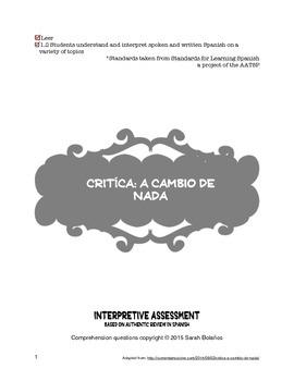 Spanish Interpretive Reading-Movie Review