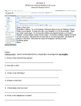 Spanish Interpretive Reading Practice + Guided Writing - Personal Information