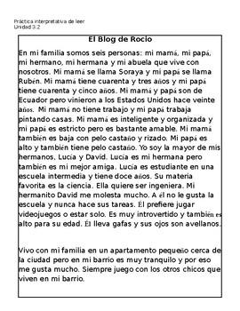Spanish Interpretive Reading Practice - La familia - Family