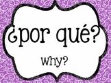 Spanish Interrogative Posters - Swirl Backgrounds