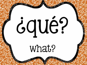 Spanish Interrogative Posters - Swirl Backgrounds