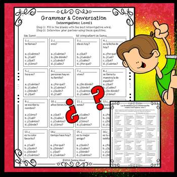 Spanish Interrogatives Worksheets and Conversation Cards