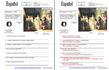 Spanish Art Based Activities Bundle - 5 Worksheets
