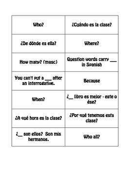 Spanish Interrogatives Buzz Game