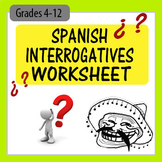 Spanish Interrogatives (Question Words) Worksheet