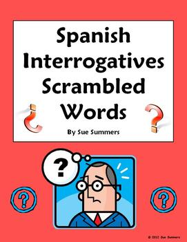 Spanish Interrogatives Scrambled Words - Spanish Question Words