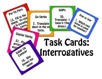 Spanish Interrogatives Task Cards