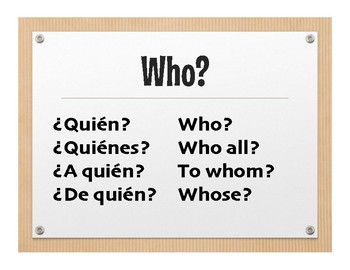 Spanish Interrogatives Wall Charts