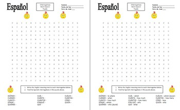 Spanish Interrogatives Jingle Bells Song  Canción de los likewise uses of what  what if  what for  what about   ESL worksheet by likewise  besides Spanish Plural Worksheet by Karla Gipson   Teachers Pay Teachers furthermore Interrogative sentences worksheets further Understanding Spanish Interrogatives together with Spanish Question Words – Worksheets   Woodward Spanish likewise Spanish Interrogatives 101  Who  What  When  Where  Why  and More besides  moreover  additionally  besides Beginner Spanish Review  Grammar and Vocabulary   4 pages   Spanish additionally Interrogative Pronouns  Question Words moreover Spanish Worksheets for Kids Unique 363 Best Spanish Activities for together with Spanish Interrogatives Word Search Puzzle Worksheet by Sue Summers in addition Spanish 2 Worksheets   Briefencounters Worksheet Template S les. on interrogative words in spanish worksheet