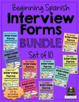Spanish Interview Forms BUNDLE for entire first year