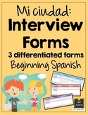Spanish Interview Forms - Mi ciudad - City - Differentiated