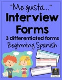 Spanish Interview Forms - Me gusta - Likes & Dislikes - Differentiated