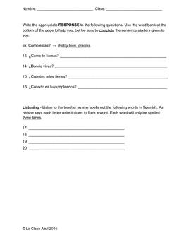 Spanish Intro Quiz