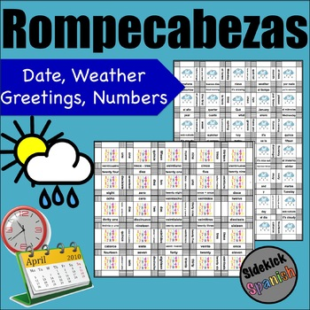 Spanish Intro Vocabulary Puzzles: Calendar, Weather, Greetings, Numbers