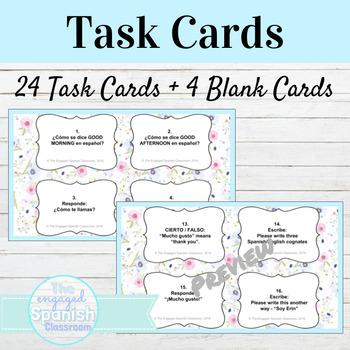 Spanish Introduction Unit Task Cards