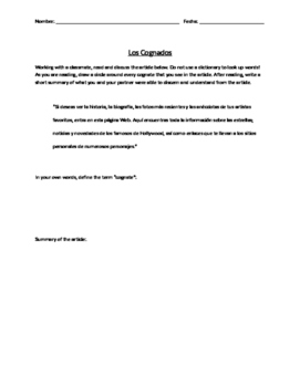 Spanish Introduction to Cognates Activity