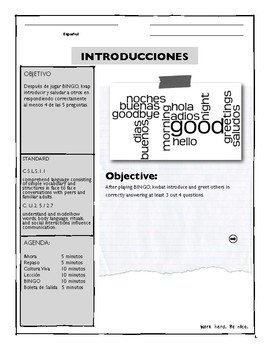 Spanish Introductions Lesson 1