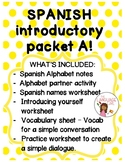 Spanish Introductory Packet A (Alphabet, Names, Greetings/