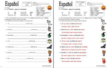 Spanish Ir A + Infinitive, Llevar and Halloween Vocabulary Sentences