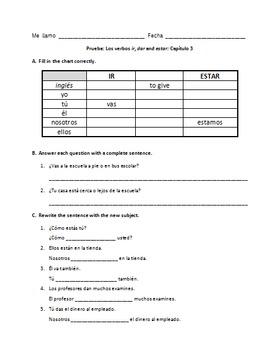 Spanish Ir, Dar Estar Notes and Worksheets