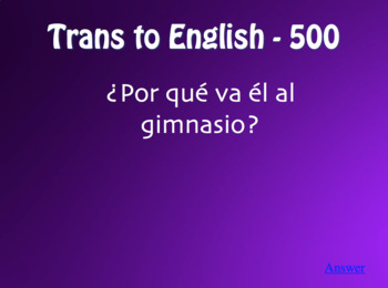 Spanish Ir Jeopardy-Style Review Game