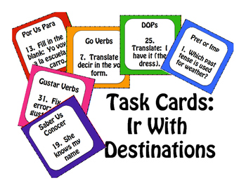 Spanish Ir Task Cards
