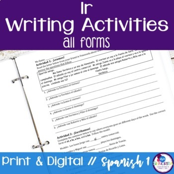 Spanish Ir and Places Writing Activities