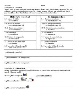 Spanish Ir with Places in School Lesson