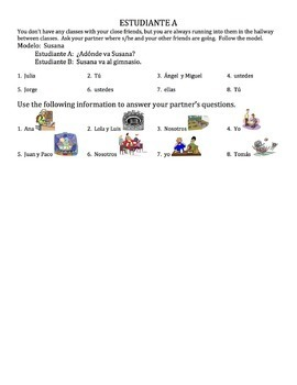 Spanish Ir with Places in School Speaking Activity
