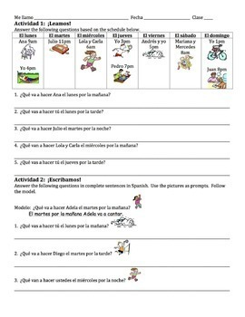 Spanish Ir+a+Verb with Time of Day Phrases Writing Activities