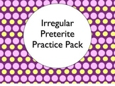 Spanish Irregular Preterite Conjugation Worksheets Practice Pack