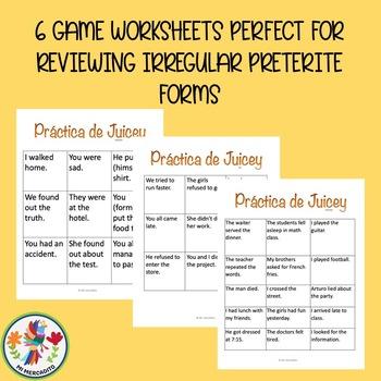 Spanish Irregular Preterite Practice Games with PowerPoints