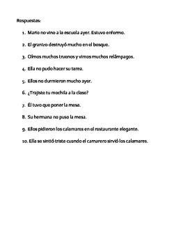 Spanish Irregular Preterite Practice-Realidades 3, Chapter 1