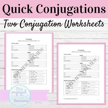 Spanish Preterite Irregular Verbs Quick Conjugations Worksheets Tpt