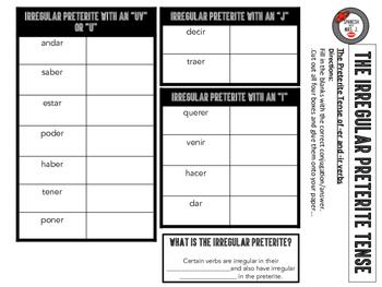 Spanish Irregular Preterite Tense Interactive Notebook Page