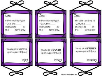 Spanish Irregular Preterite Tense Verb Task Cards