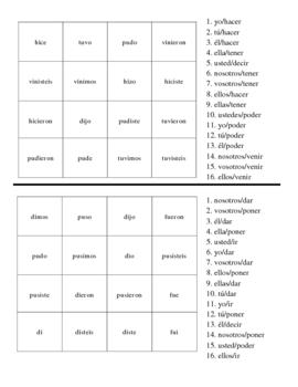 Spanish Irregular Preterite Verb Activites - Magic Squares