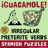 Spanish Irregular Preterite Verb Puzzles and Worksheets. Verbos de Pretérito