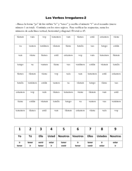 Spanish Irregular Verbs Activity Based on Sudoku