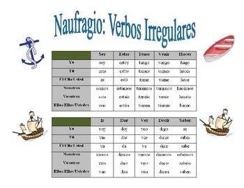 Spanish Irregular Verb Practice Activity (Shipwreck-Naufragio)
