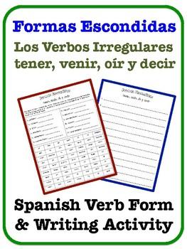 Spanish Irregular Verb Writing Activity (tener, venir, oír, decir)