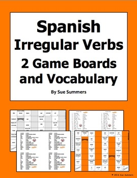 Spanish Irregular Verbs 2 Board Games and Vocabulary
