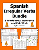 Spanish Irregular Verbs Bundle 5 Worksheets, Pair Work Activity, Reference
