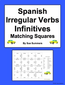 Spanish Irregular Verbs Infinitives Matching Squares Puzzle