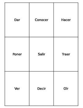 Spanish Irregular Verb Playing Cards: Present tense