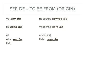 Spanish Irregular Verbs: Ser, Ser de, Tener, Estar