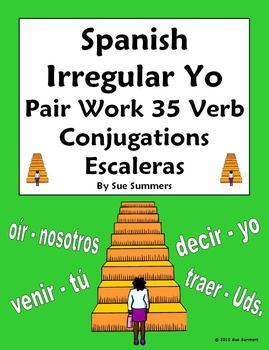 Spanish Irregular Yo Verb Pair Work Las Escaleras Activity