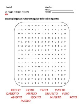 Spanish Irregular past participles wordsearch
